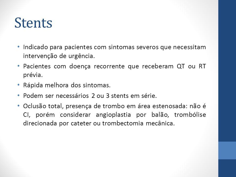 Stents Indicado para pacientes com sintomas severos que necessitam intervenção de urgência.