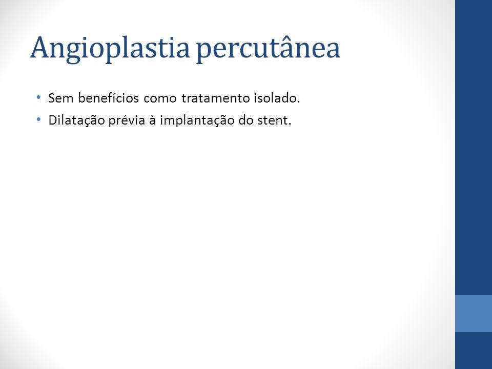 Angioplastia percutânea Sem benefícios como tratamento isolado.