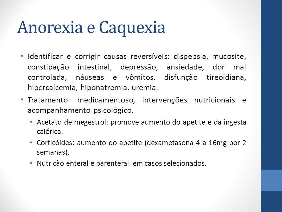 Anorexia e Caquexia Identificar e corrigir causas reversíveis: dispepsia, mucosite, constipação intestinal, depressão, ansiedade, dor mal controlada, náuseas e vômitos, disfunção tireoidiana, hipercalcemia, hiponatremia, uremia.