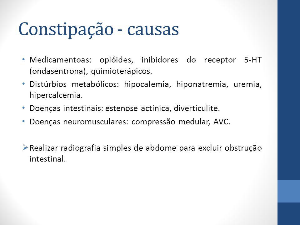 Constipação - causas Medicamentoas: opióides, inibidores do receptor 5-HT (ondasentrona), quimioterápicos.