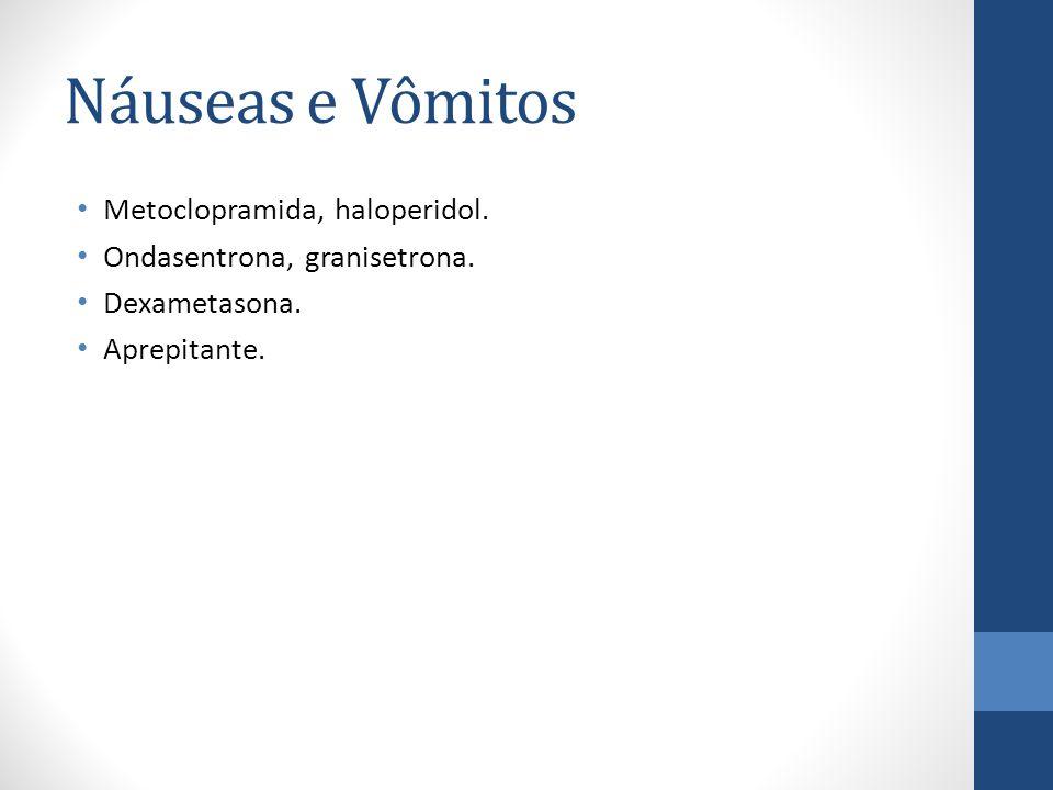 Náuseas e Vômitos Metoclopramida, haloperidol.Ondasentrona, granisetrona.