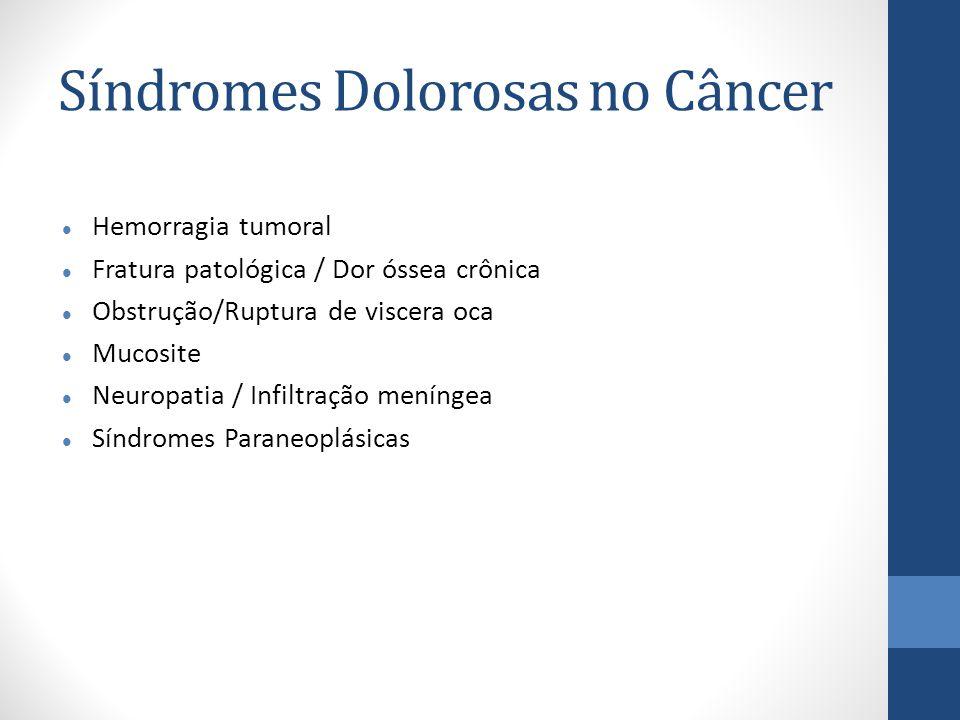 Síndromes Dolorosas no Câncer Hemorragia tumoral Fratura patológica / Dor óssea crônica Obstrução/Ruptura de viscera oca Mucosite Neuropatia / Infiltração meníngea Síndromes Paraneoplásicas