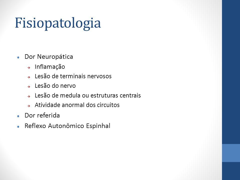 Fisiopatologia Dor Neuropática  Inflamação  Lesão de terminais nervosos  Lesão do nervo  Lesão de medula ou estruturas centrais  Atividade anormal dos circuitos Dor referida Reflexo Autonômico Espinhal