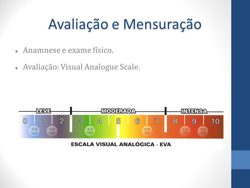 Avaliação e Mensuração Anamnese e exame físico. Avaliação: Visual Analogue Scale.