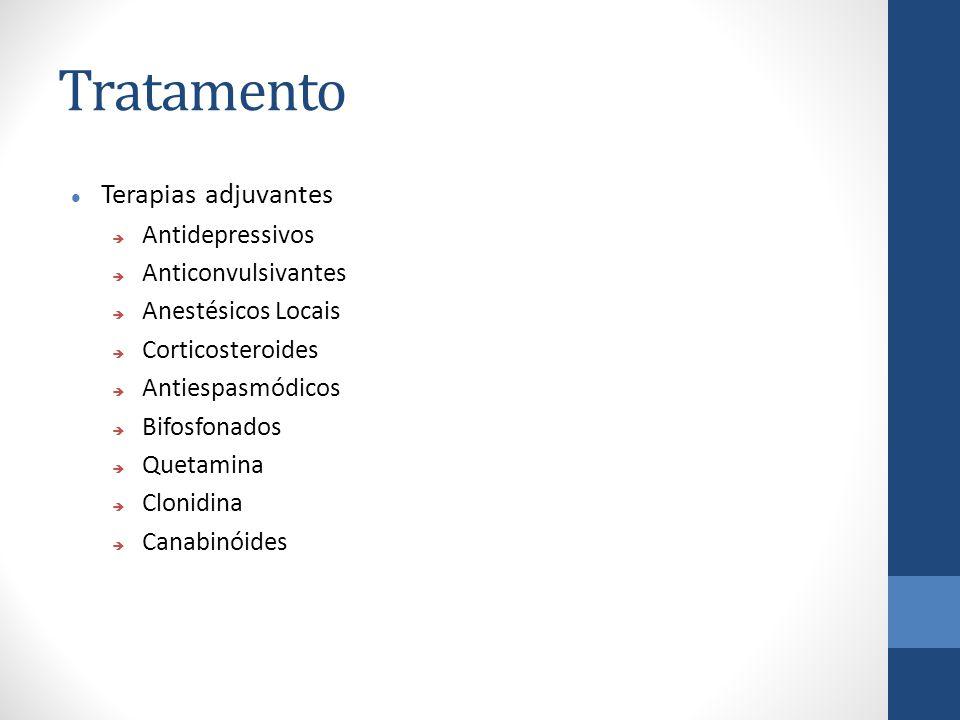 Tratamento Terapias adjuvantes  Antidepressivos  Anticonvulsivantes  Anestésicos Locais  Corticosteroides  Antiespasmódicos  Bifosfonados  Quetamina  Clonidina  Canabinóides