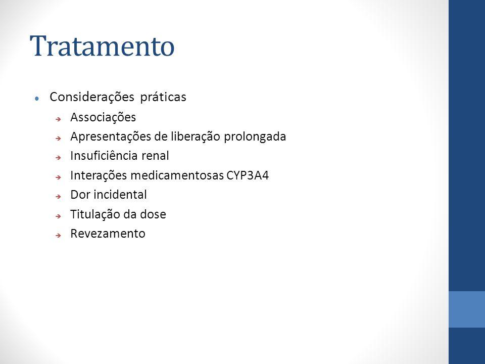 Tratamento Considerações práticas  Associações  Apresentações de liberação prolongada  Insuficiência renal  Interações medicamentosas CYP3A4  Dor incidental  Titulação da dose  Revezamento