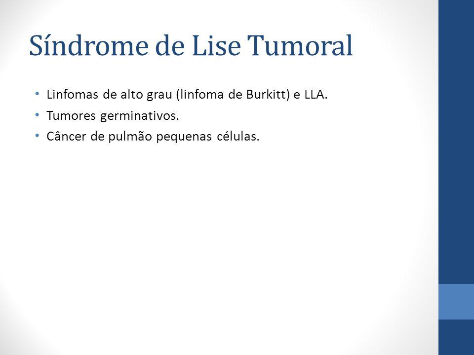 Síndrome de Lise Tumoral Linfomas de alto grau (linfoma de Burkitt) e LLA.