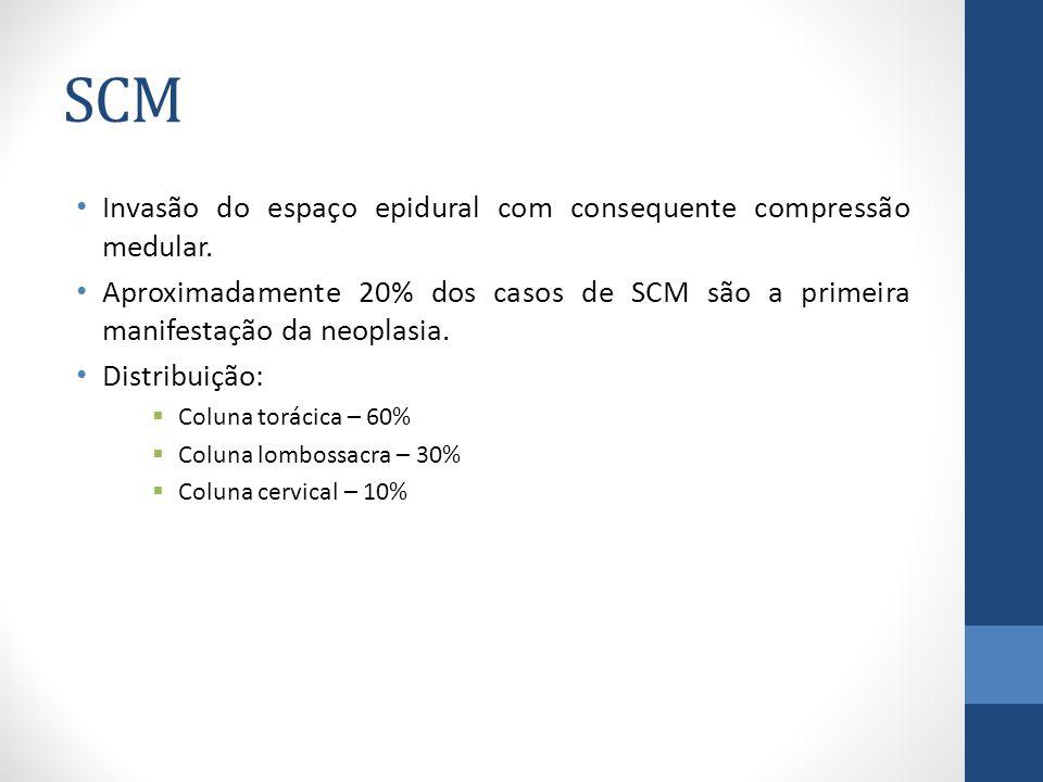 SCM Invasão do espaço epidural com consequente compressão medular.