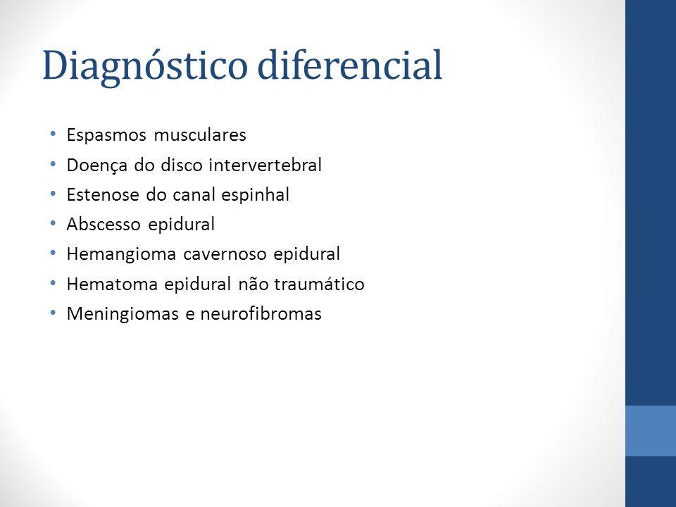 Diagnóstico diferencial Espasmos musculares Doença do disco intervertebral Estenose do canal espinhal Abscesso epidural Hemangioma cavernoso epidural Hematoma epidural não traumático Meningiomas e neurofibromas