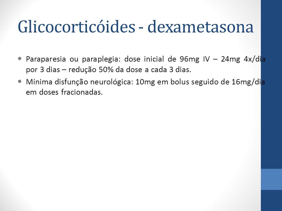 Glicocorticóides - dexametasona Paraparesia ou paraplegia: dose inicial de 96mg IV – 24mg 4x/dia por 3 dias – redução 50% da dose a cada 3 dias.