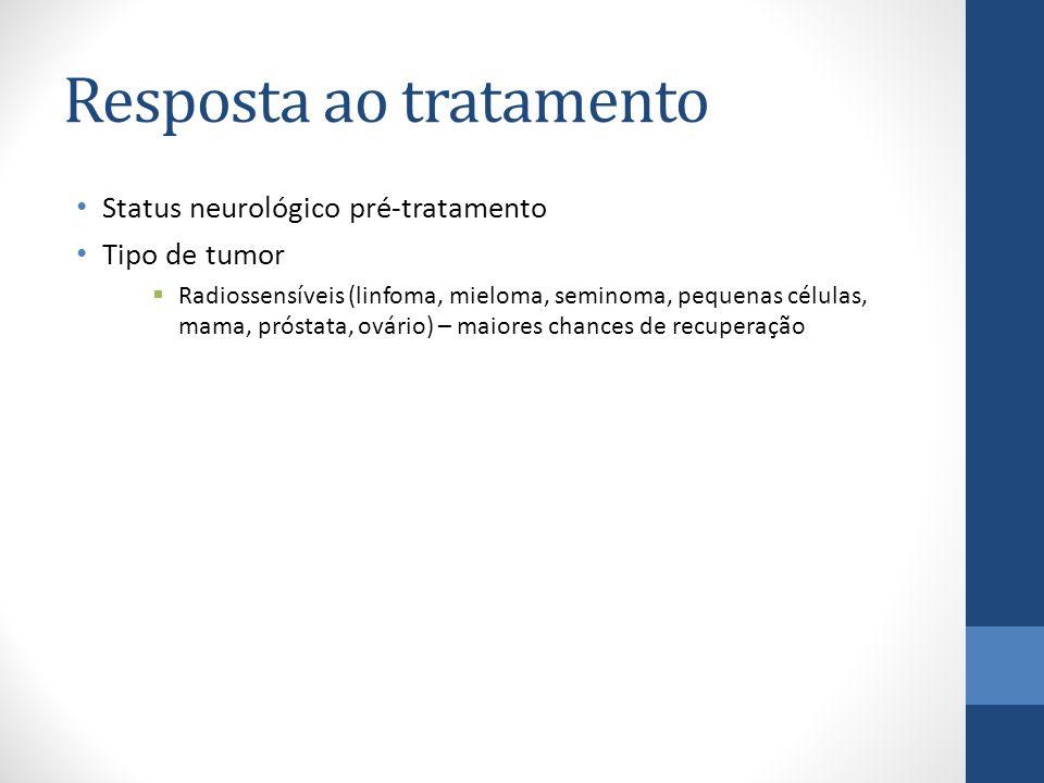 Resposta ao tratamento Status neurológico pré-tratamento Tipo de tumor  Radiossensíveis (linfoma, mieloma, seminoma, pequenas células, mama, próstata, ovário) – maiores chances de recuperação