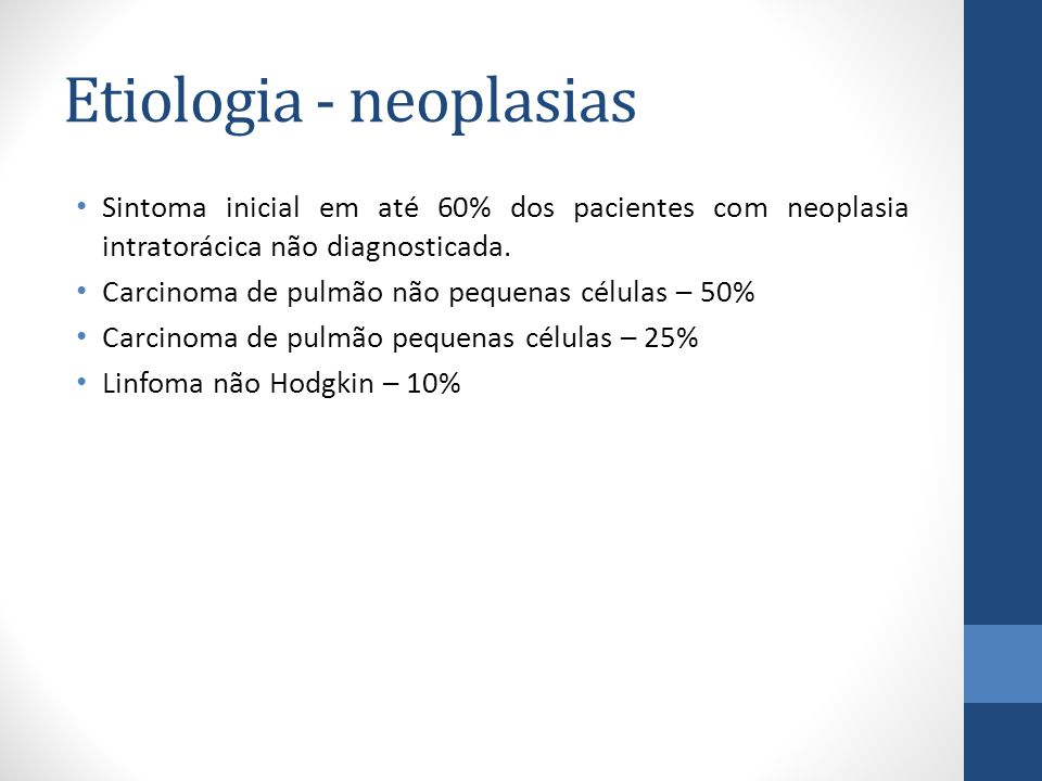 Etiologia - neoplasias Sintoma inicial em até 60% dos pacientes com neoplasia intratorácica não diagnosticada.