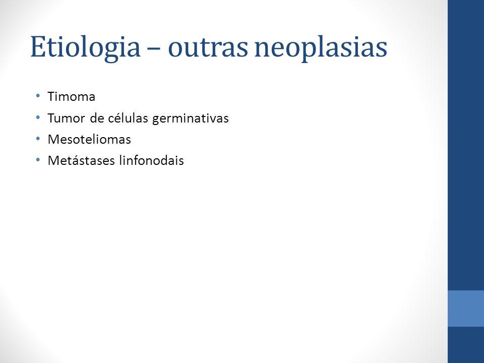 Etiologia – outras neoplasias Timoma Tumor de células germinativas Mesoteliomas Metástases linfonodais