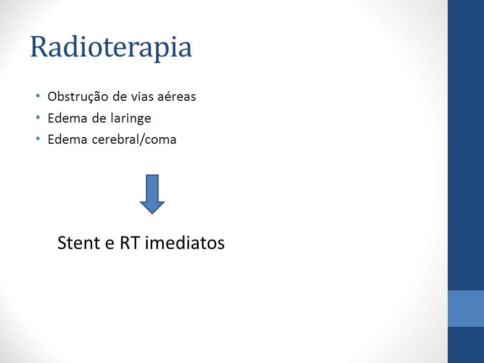 Radioterapia Obstrução de vias aéreas Edema de laringe Edema cerebral/coma Stent e RT imediatos