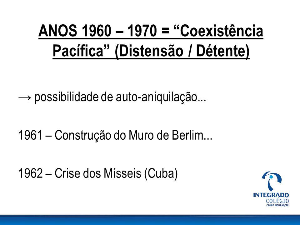 """ANOS 1960 – 1970 = """"Coexistência Pacífica"""" (Distensão / Détente) → possibilidade de auto-aniquilação... 1961 – Construção do Muro de Berlim... 1962 –"""