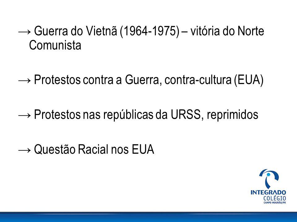→ Guerra do Vietnã (1964-1975) – vitória do Norte Comunista → Protestos contra a Guerra, contra-cultura (EUA) → Protestos nas repúblicas da URSS, repr