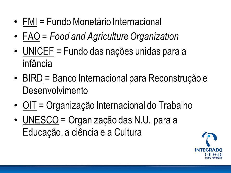 FMI = Fundo Monetário Internacional FAO = Food and Agriculture Organization UNICEF = Fundo das nações unidas para a infância BIRD = Banco Internaciona