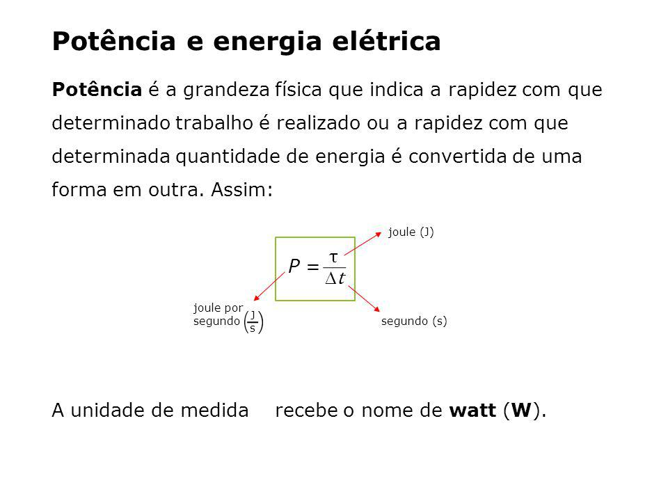 Potência e energia elétrica Potência é a grandeza física que indica a rapidez com que determinado trabalho é realizado ou a rapidez com que determinada quantidade de energia é convertida de uma forma em outra.
