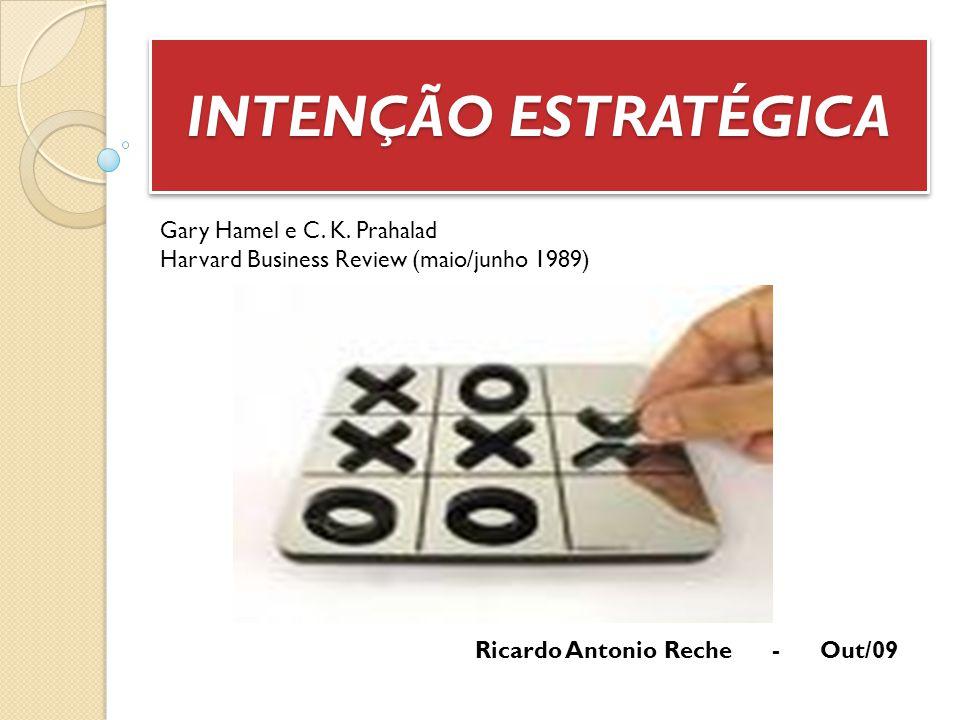 INTENÇÃO ESTRATÉGICA Gary Hamel e C. K. Prahalad Harvard Business Review (maio/junho 1989) Ricardo Antonio Reche - Out/09