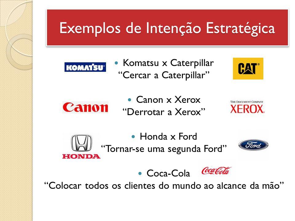 "Exemplos de Intenção Estratégica Komatsu x Caterpillar ""Cercar a Caterpillar"" Canon x Xerox ""Derrotar a Xerox"" Honda x Ford ""Tornar-se uma segunda For"