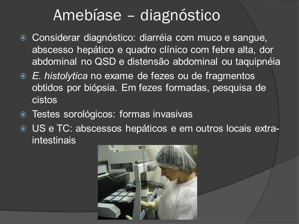 Amebíase – diagnóstico  Considerar diagnóstico: diarréia com muco e sangue, abscesso hepático e quadro clínico com febre alta, dor abdominal no QSD e distensão abdominal ou taquipnéia  E.