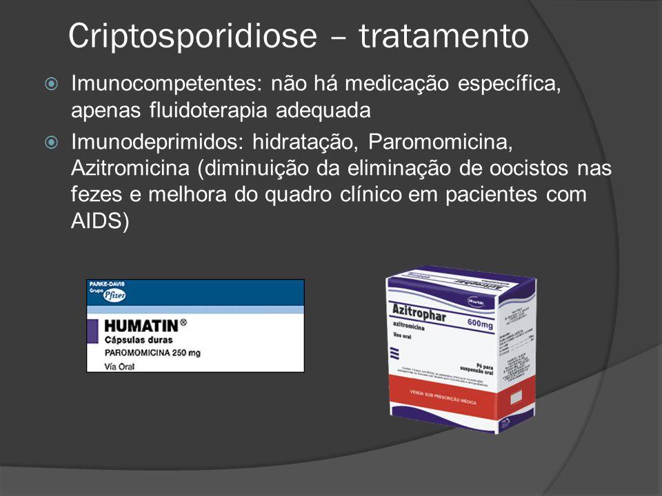 Criptosporidiose – tratamento  Imunocompetentes: não há medicação específica, apenas fluidoterapia adequada  Imunodeprimidos: hidratação, Paromomicina, Azitromicina (diminuição da eliminação de oocistos nas fezes e melhora do quadro clínico em pacientes com AIDS)