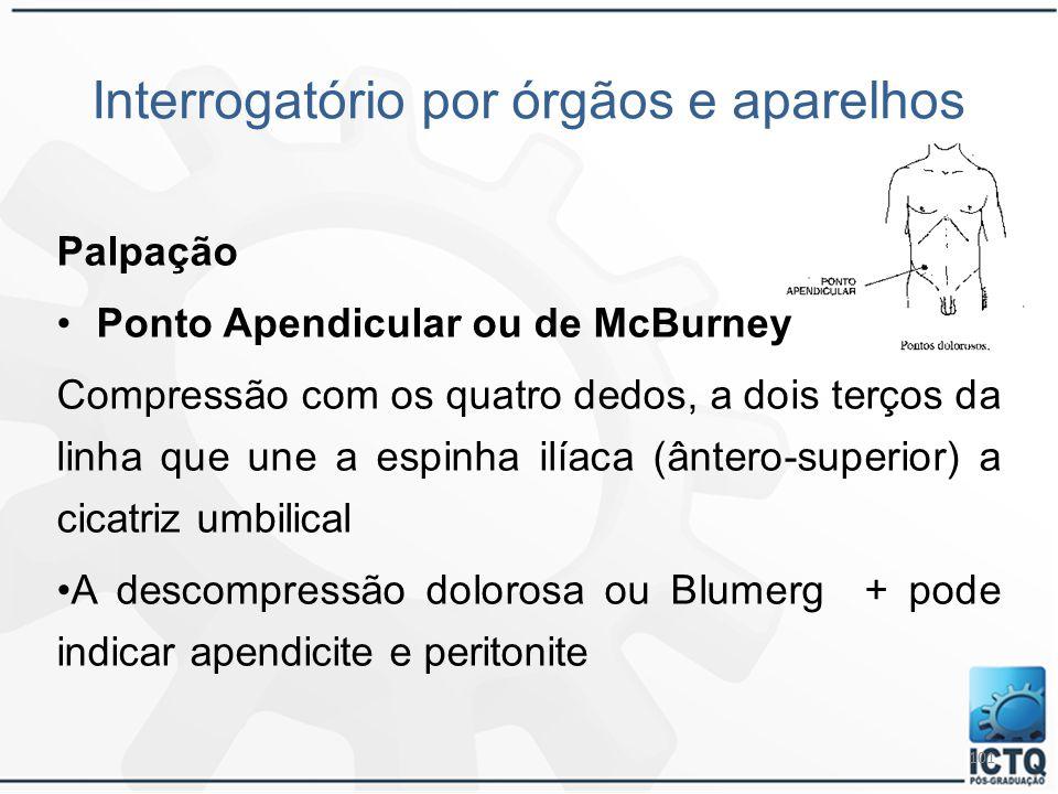 101 Interrogatório por órgãos e aparelhos Palpação Ponto Apendicular ou de McBurney Compressão com os quatro dedos, a dois terços da linha que une a e