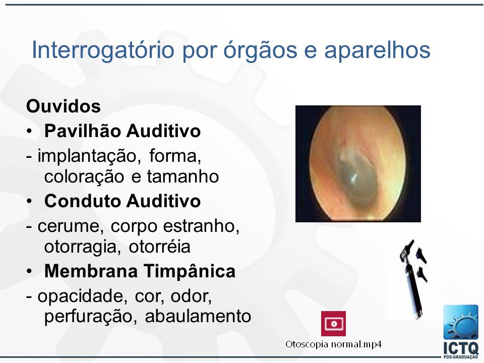 Interrogatório por órgãos e aparelhos Ouvidos Pavilhão Auditivo - implantação, forma, coloração e tamanho Conduto Auditivo - cerume, corpo estranho, o
