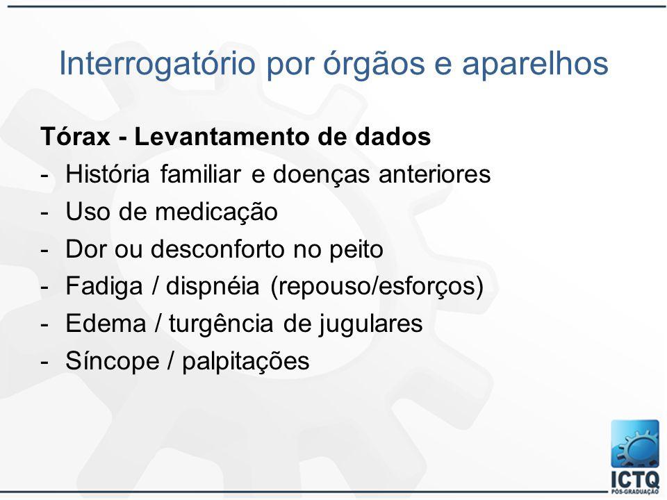Interrogatório por órgãos e aparelhos Tórax - Levantamento de dados -História familiar e doenças anteriores -Uso de medicação -Dor ou desconforto no p