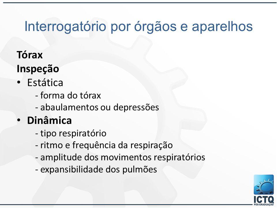 Interrogatório por órgãos e aparelhos Tórax Inspeção Estática - forma do tórax - abaulamentos ou depressões Dinâmica - tipo respiratório - ritmo e fre