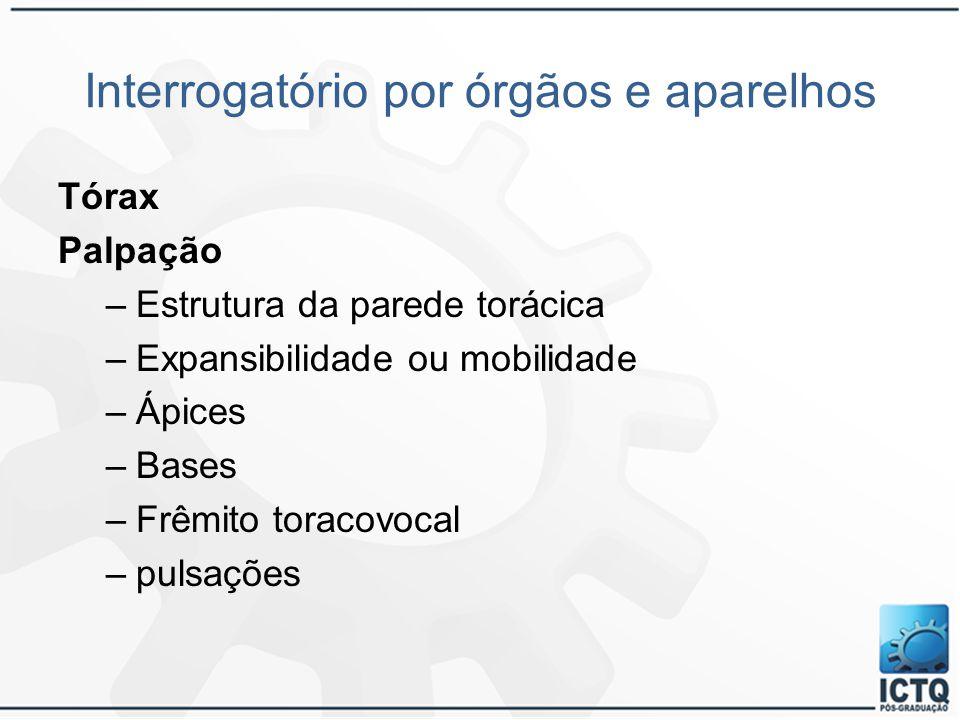 Interrogatório por órgãos e aparelhos Tórax Palpação –Estrutura da parede torácica –Expansibilidade ou mobilidade –Ápices –Bases –Frêmito toracovocal