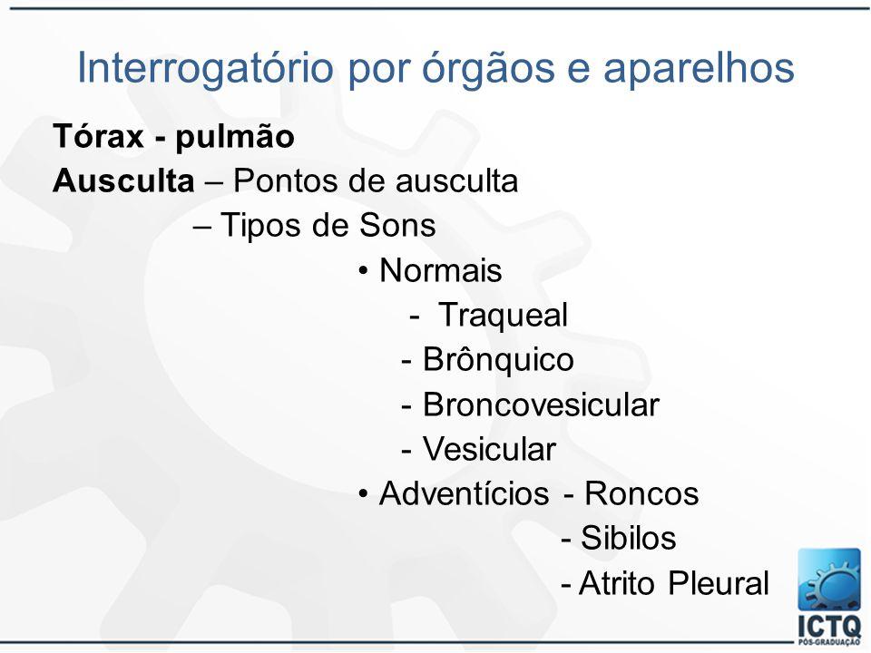 Interrogatório por órgãos e aparelhos Tórax - pulmão Ausculta – Pontos de ausculta – Tipos de Sons Normais - Traqueal -Brônquico -Broncovesicular -Ves