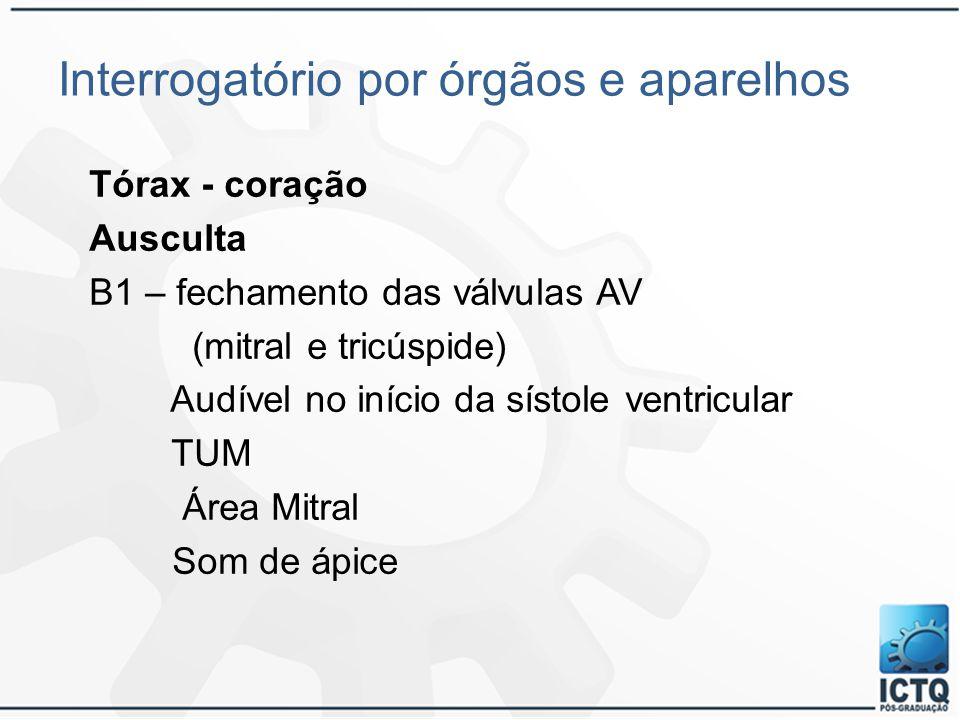 Interrogatório por órgãos e aparelhos Tórax - coração Ausculta B1 – fechamento das válvulas AV (mitral e tricúspide) Audível no início da sístole vent