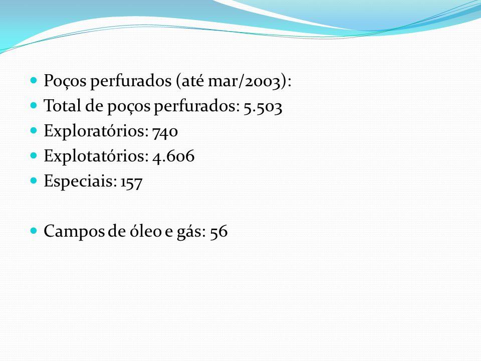 Poços perfurados (até mar/2003): Total de poços perfurados: 5.503 Exploratórios: 740 Explotatórios: 4.606 Especiais: 157 Campos de óleo e gás: 56