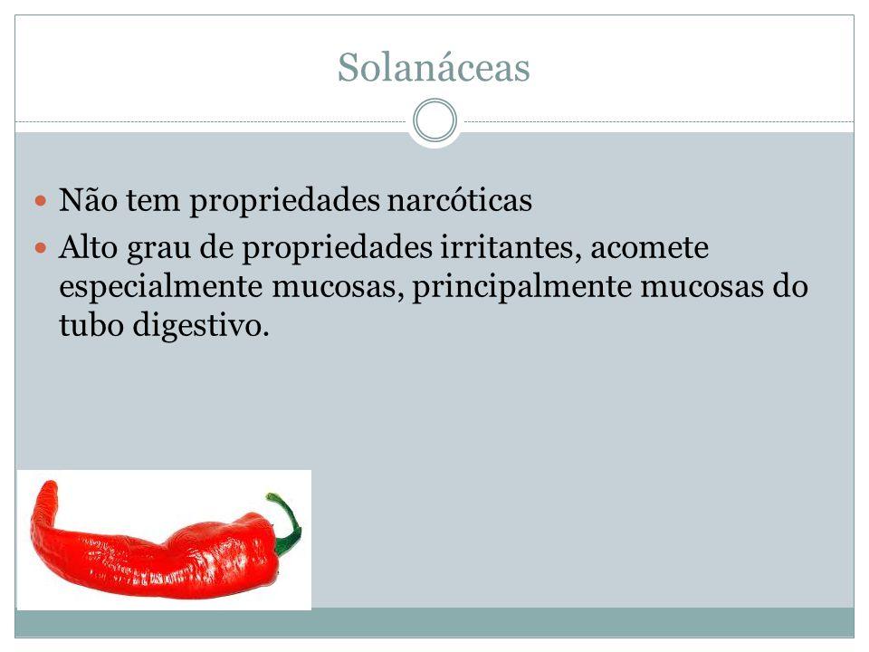 Solanáceas Não tem propriedades narcóticas Alto grau de propriedades irritantes, acomete especialmente mucosas, principalmente mucosas do tubo digestivo.
