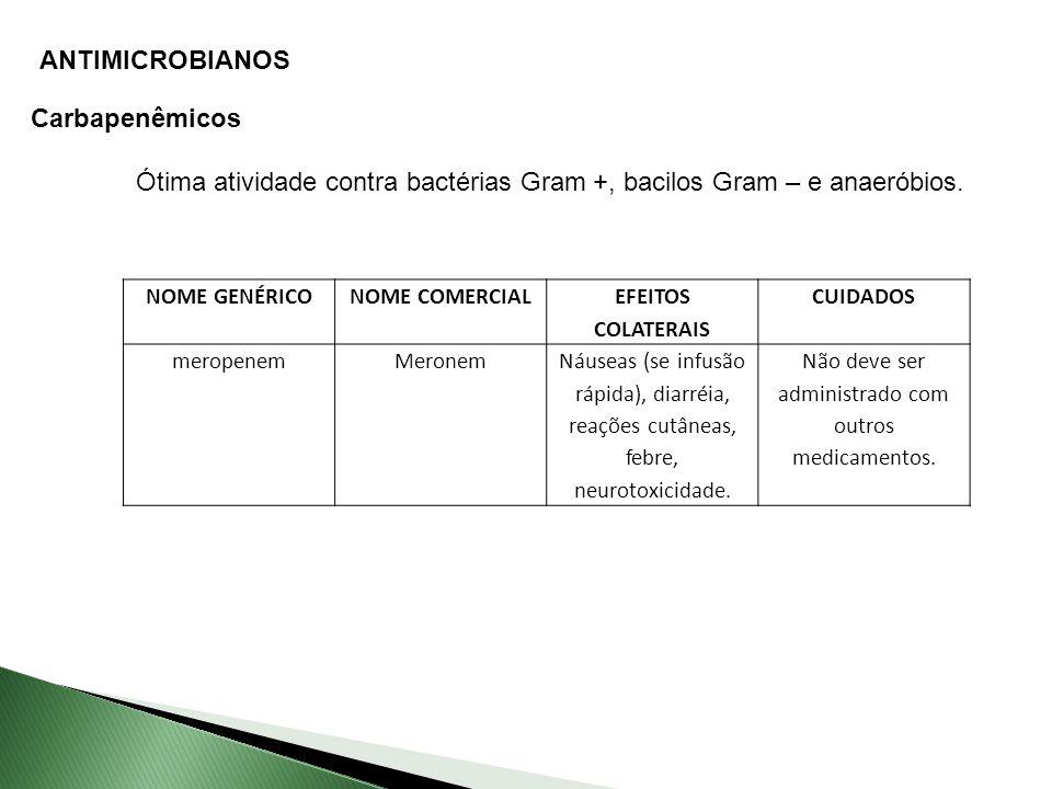 ANTIMICROBIANOS Carbapenêmicos Ótima atividade contra bactérias Gram +, bacilos Gram – e anaeróbios.