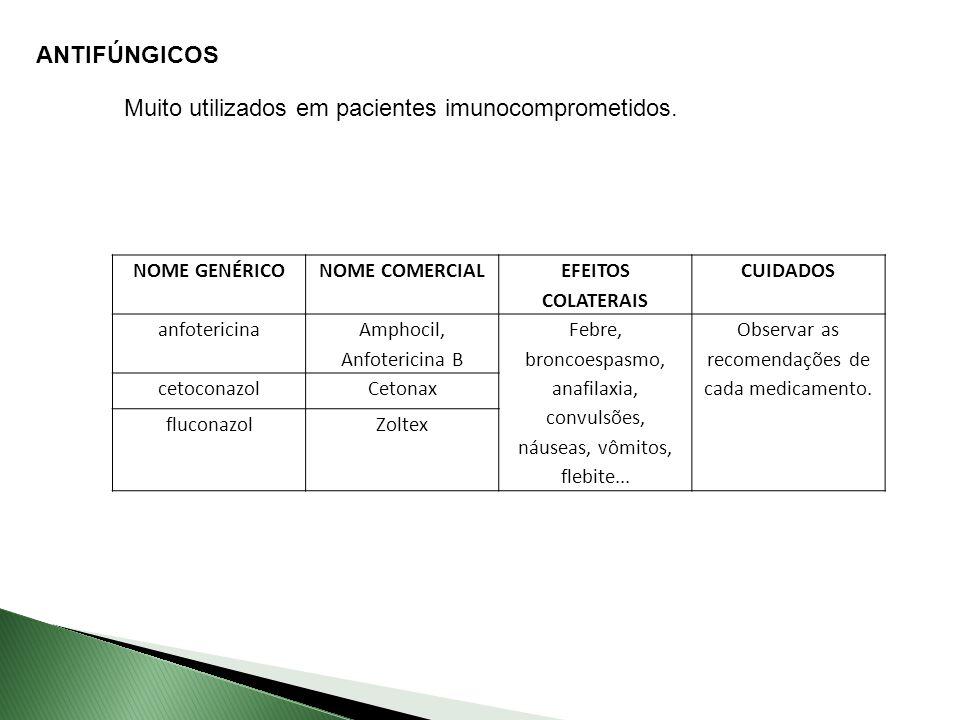 ANTIFÚNGICOS Muito utilizados em pacientes imunocomprometidos.