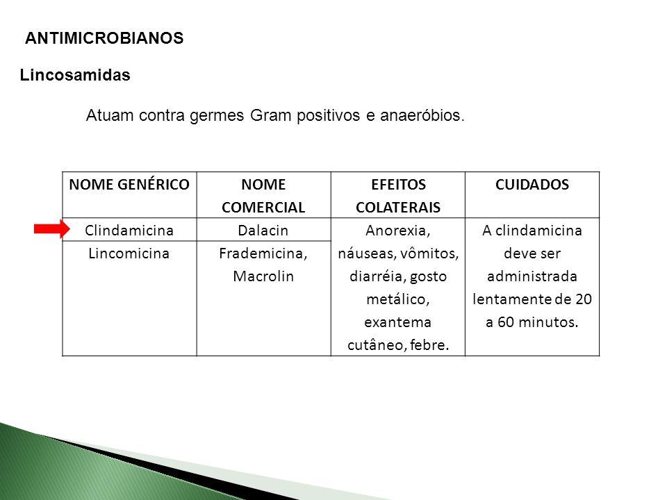 ANTIMICROBIANOS Lincosamidas Atuam contra germes Gram positivos e anaeróbios.