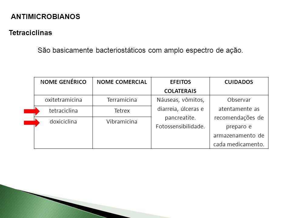 ANTIMICROBIANOS Tetraciclinas São basicamente bacteriostáticos com amplo espectro de ação.
