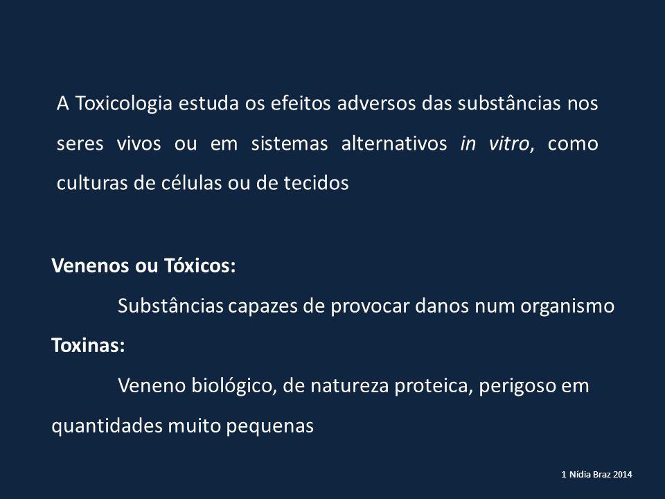 1 Nídia Braz 2014 A Toxicologia estuda os efeitos adversos das substâncias nos seres vivos ou em sistemas alternativos in vitro, como culturas de célu