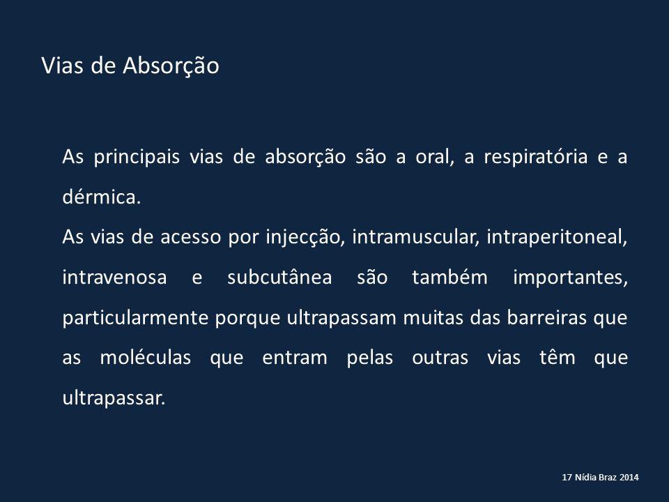 17 Nídia Braz 2014 As principais vias de absorção são a oral, a respiratória e a dérmica. As vias de acesso por injecção, intramuscular, intraperitone