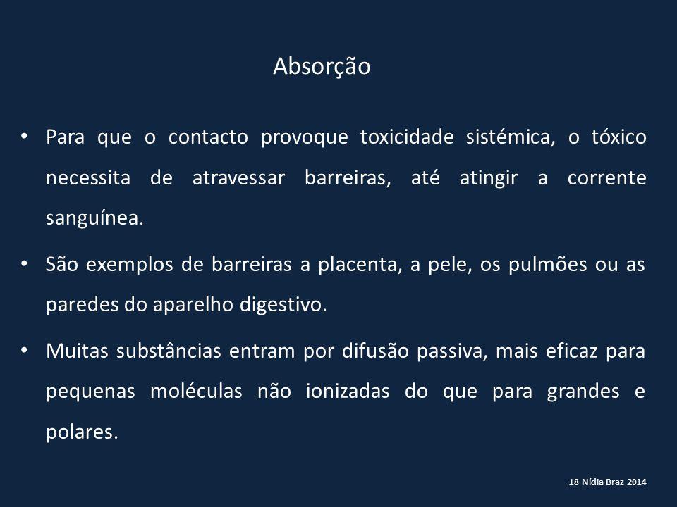 18 Nídia Braz 2014 Para que o contacto provoque toxicidade sistémica, o tóxico necessita de atravessar barreiras, até atingir a corrente sanguínea. Sã