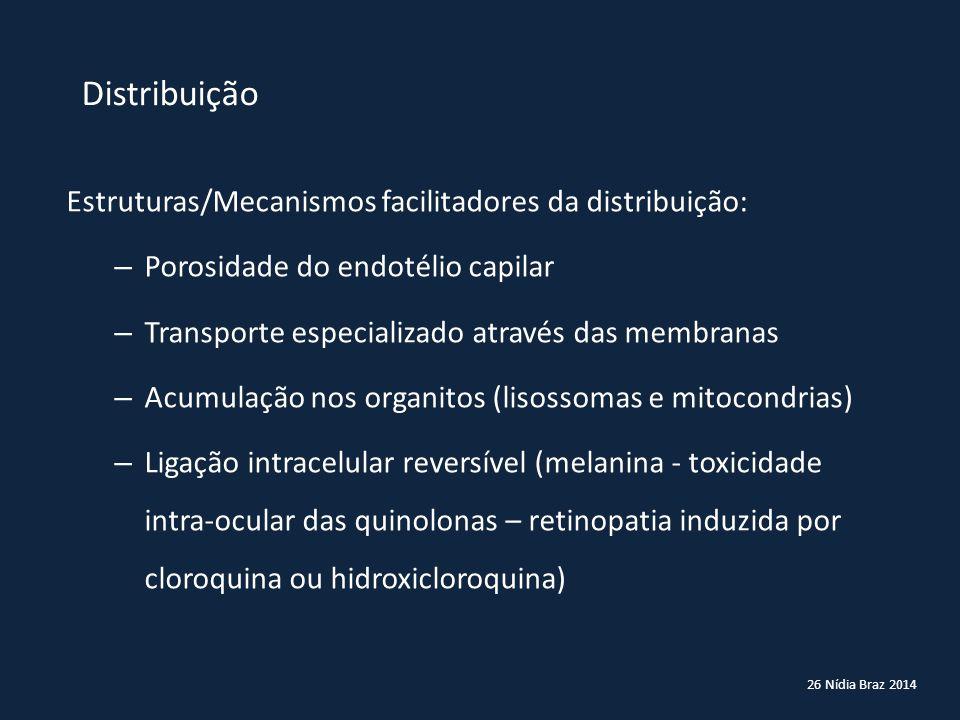 26 Nídia Braz 2014 Distribuição Estruturas/Mecanismos facilitadores da distribuição: – Porosidade do endotélio capilar – Transporte especializado atra