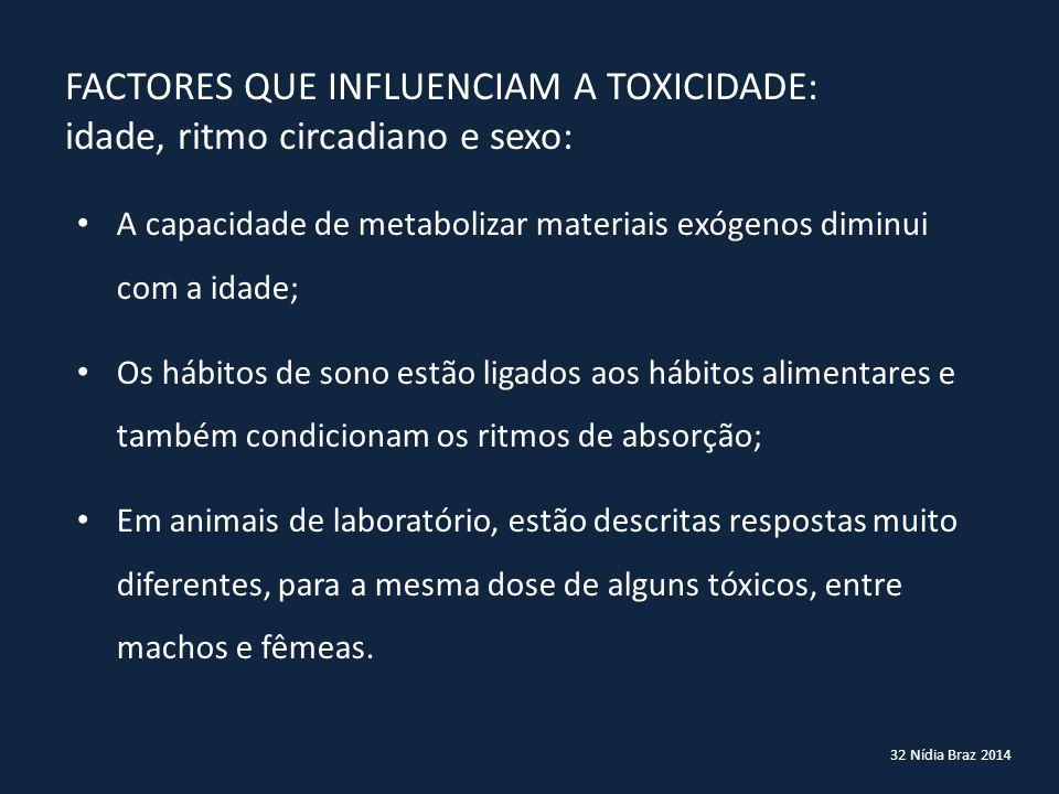 32 Nídia Braz 2014 FACTORES QUE INFLUENCIAM A TOXICIDADE: idade, ritmo circadiano e sexo: A capacidade de metabolizar materiais exógenos diminui com a