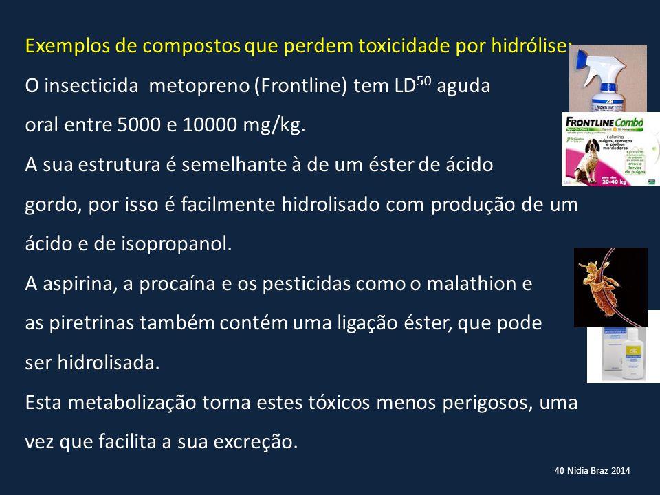 40 Nídia Braz 2014 Exemplos de compostos que perdem toxicidade por hidrólise: O insecticida metopreno (Frontline) tem LD 50 aguda oral entre 5000 e 10