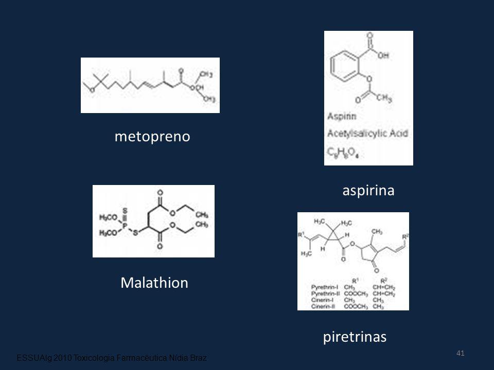 41 metopreno aspirina Malathion piretrinas ESSUAlg 2010 Toxicologia Farmacêutica Nídia Braz