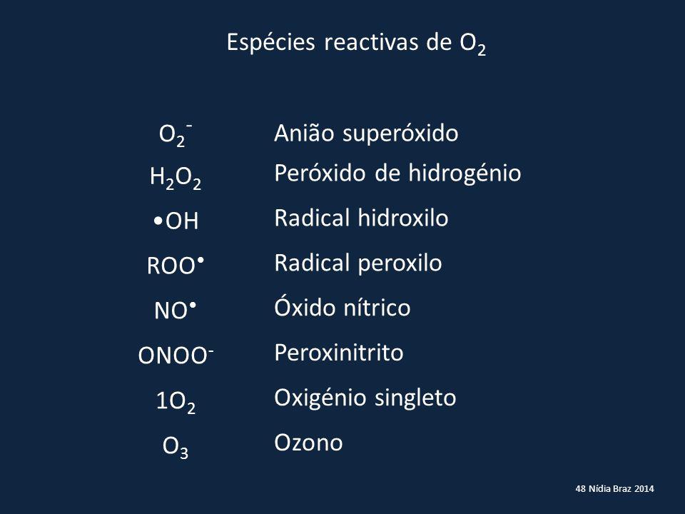 48 Nídia Braz 2014 Espécies reactivas de O 2 O2-O2- Anião superóxido H2O2H2O2 Peróxido de hidrogénio OH Radical hidroxilo ROO Radical peroxilo NO Óxid