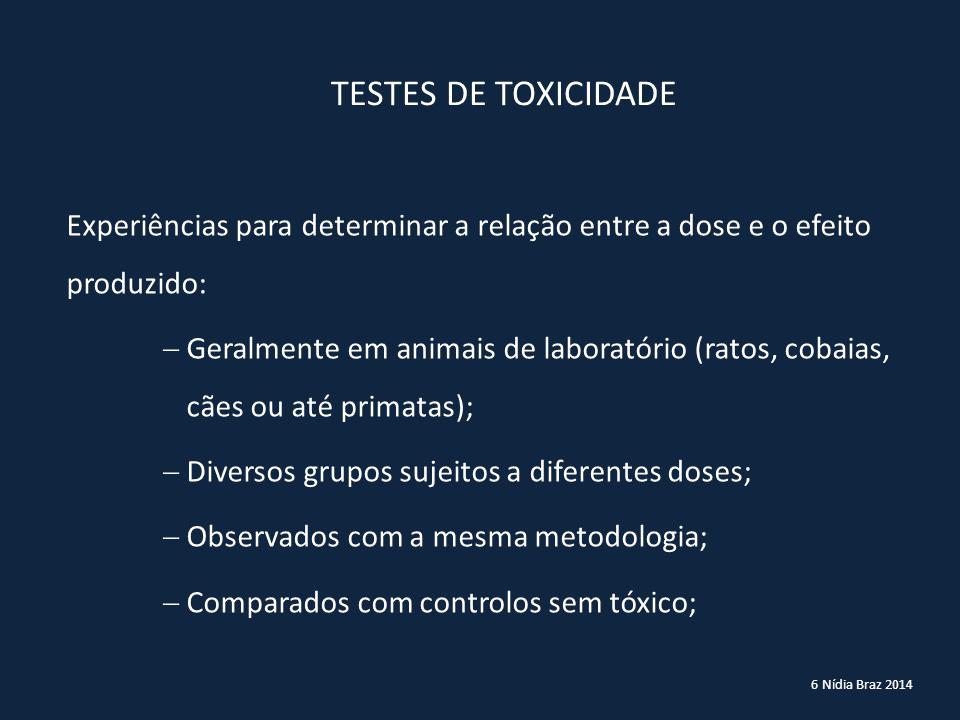 6 Nídia Braz 2014 TESTES DE TOXICIDADE Experiências para determinar a relação entre a dose e o efeito produzido:  Geralmente em animais de laboratóri