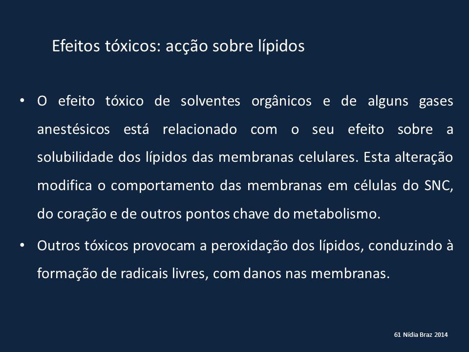 61 Nídia Braz 2014 Efeitos tóxicos: acção sobre lípidos O efeito tóxico de solventes orgânicos e de alguns gases anestésicos está relacionado com o se