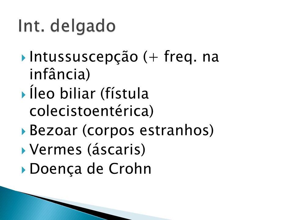  Intussuscepção (+ freq. na infância)  Íleo biliar (fístula colecistoentérica)  Bezoar (corpos estranhos)  Vermes (áscaris)  Doença de Crohn